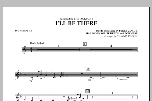 I'll Be There - Bb Trumpet 2 Sheet Music