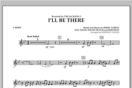 I'll Be There - F Horn Sheet Music