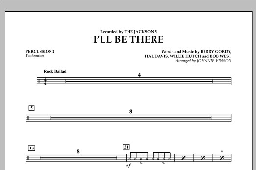 I'll Be There - Percussion 2 Sheet Music