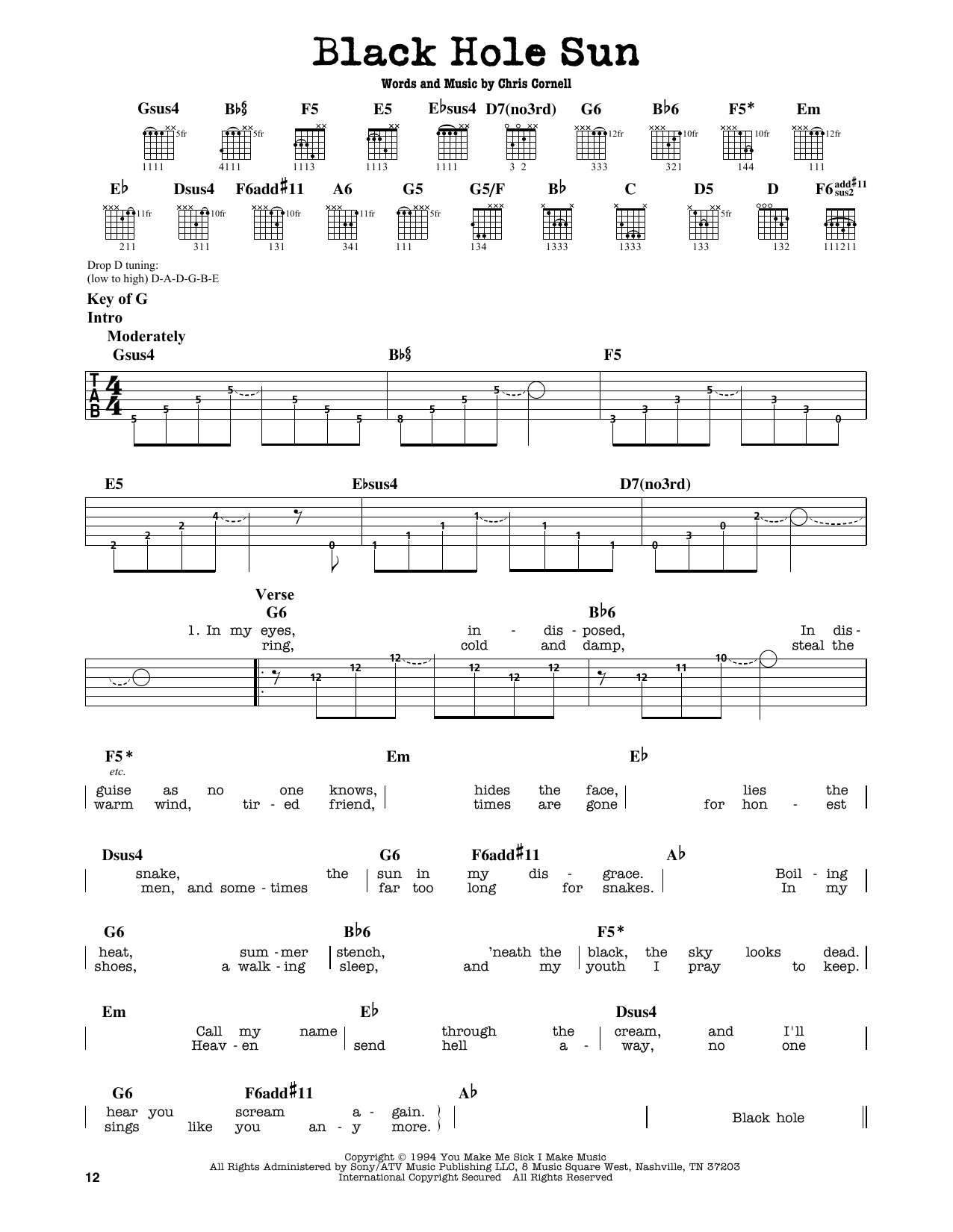Partition autre Black Hole Sun de Soundgarden - Tablature Guitare Lead