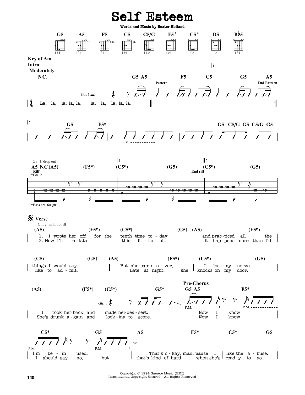 Partition autre Self Esteem de The Offspring - Tablature Guitare Lead