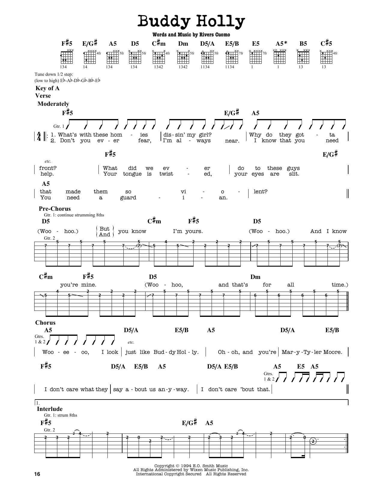 Partition autre Buddy Holly de Weezer - Tablature Guitare Lead
