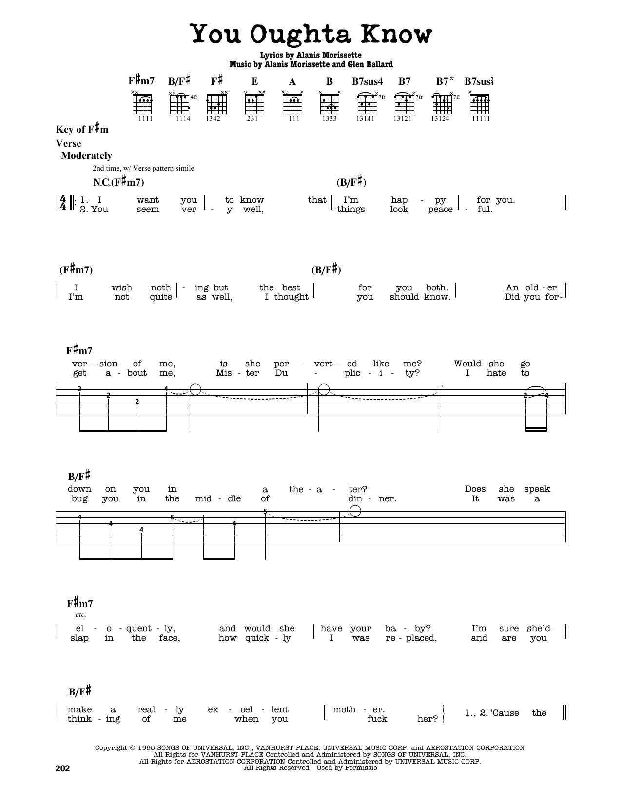 You Oughta Know Sheet Music By Alanis Morissette Guitar Lead Sheet
