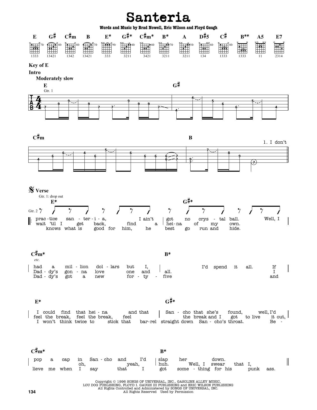 Partition autre Santeria de Sublime - Tablature Guitare Lead