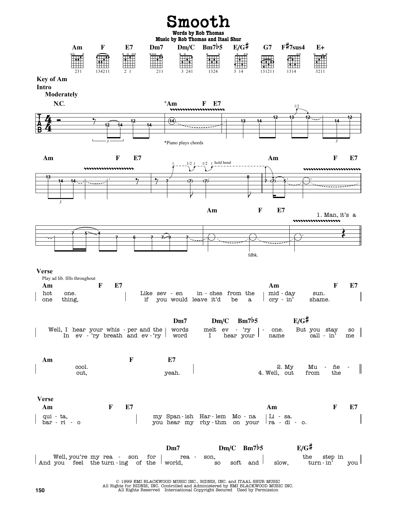 Partition autre Smooth de Santana featuring Rob Thomas - Tablature Guitare Lead