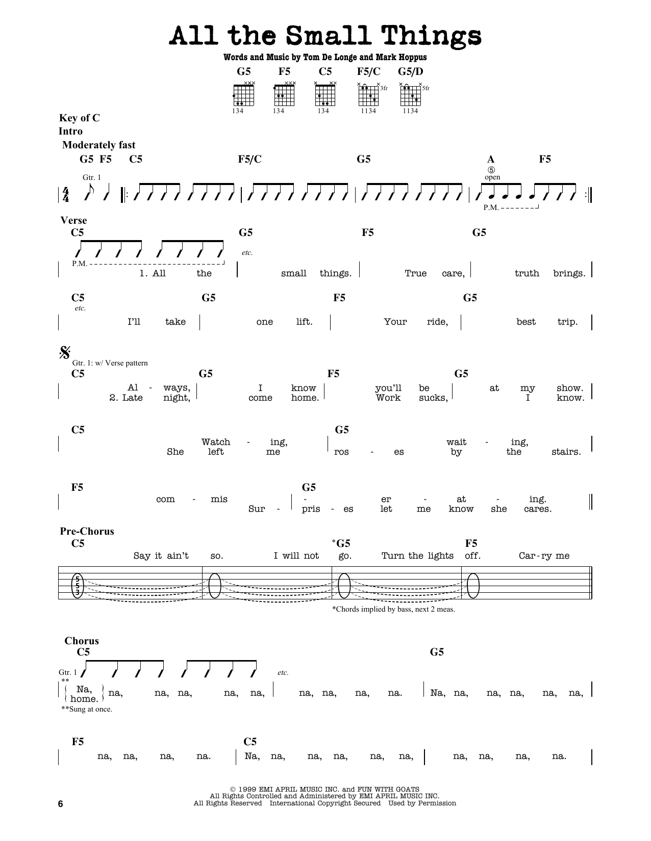 Partition autre All The Small Things de Blink-182 - Tablature Guitare Lead