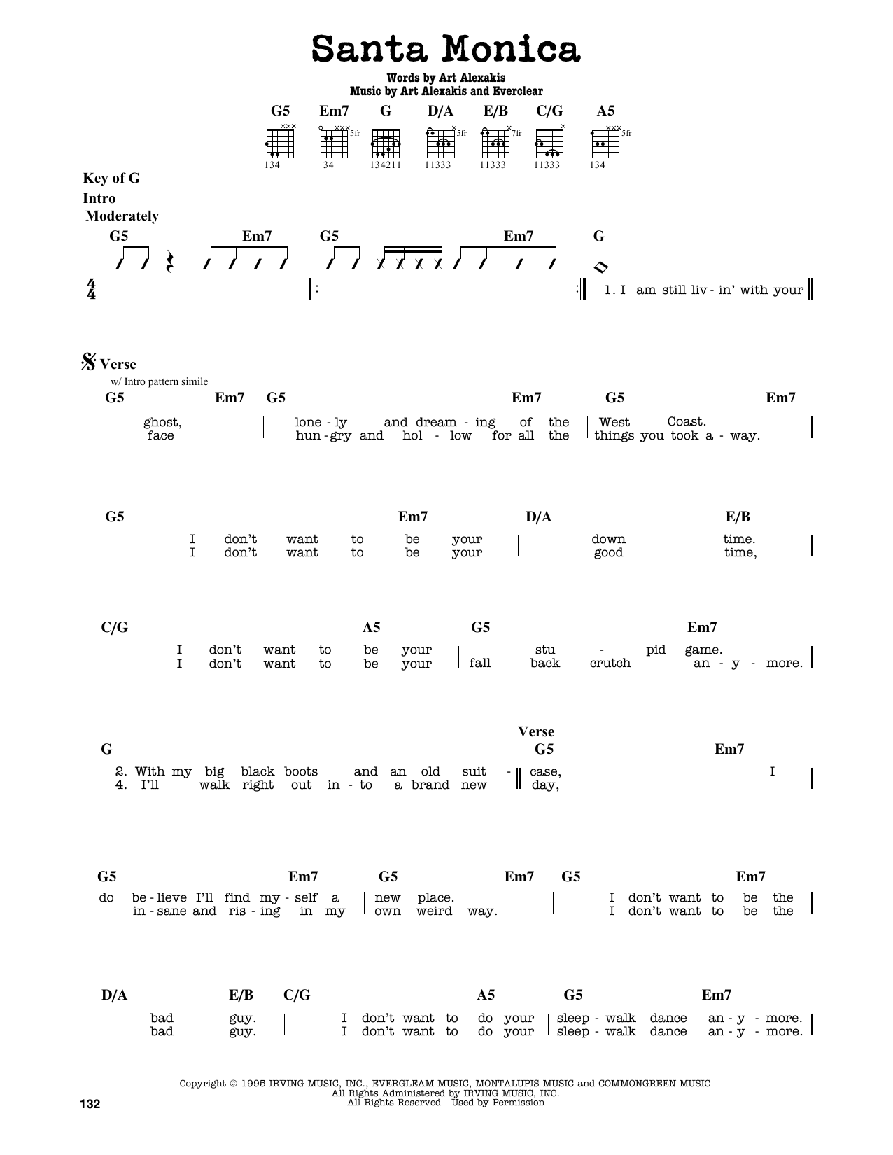 Partition autre Santa Monica de Everclear - Tablature Guitare Lead