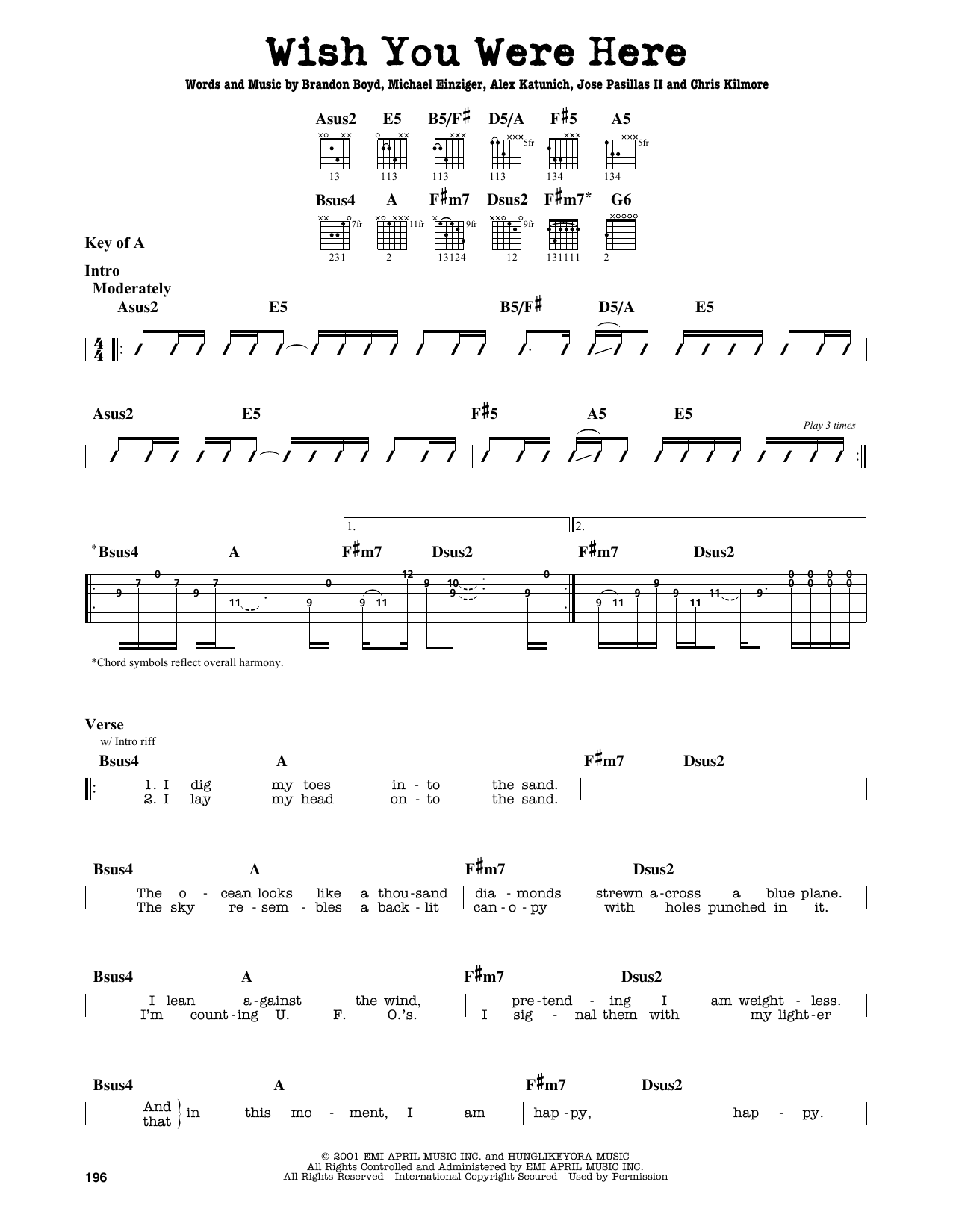 Wish You Were Here by Incubus - Guitar Lead Sheet - Guitar ...