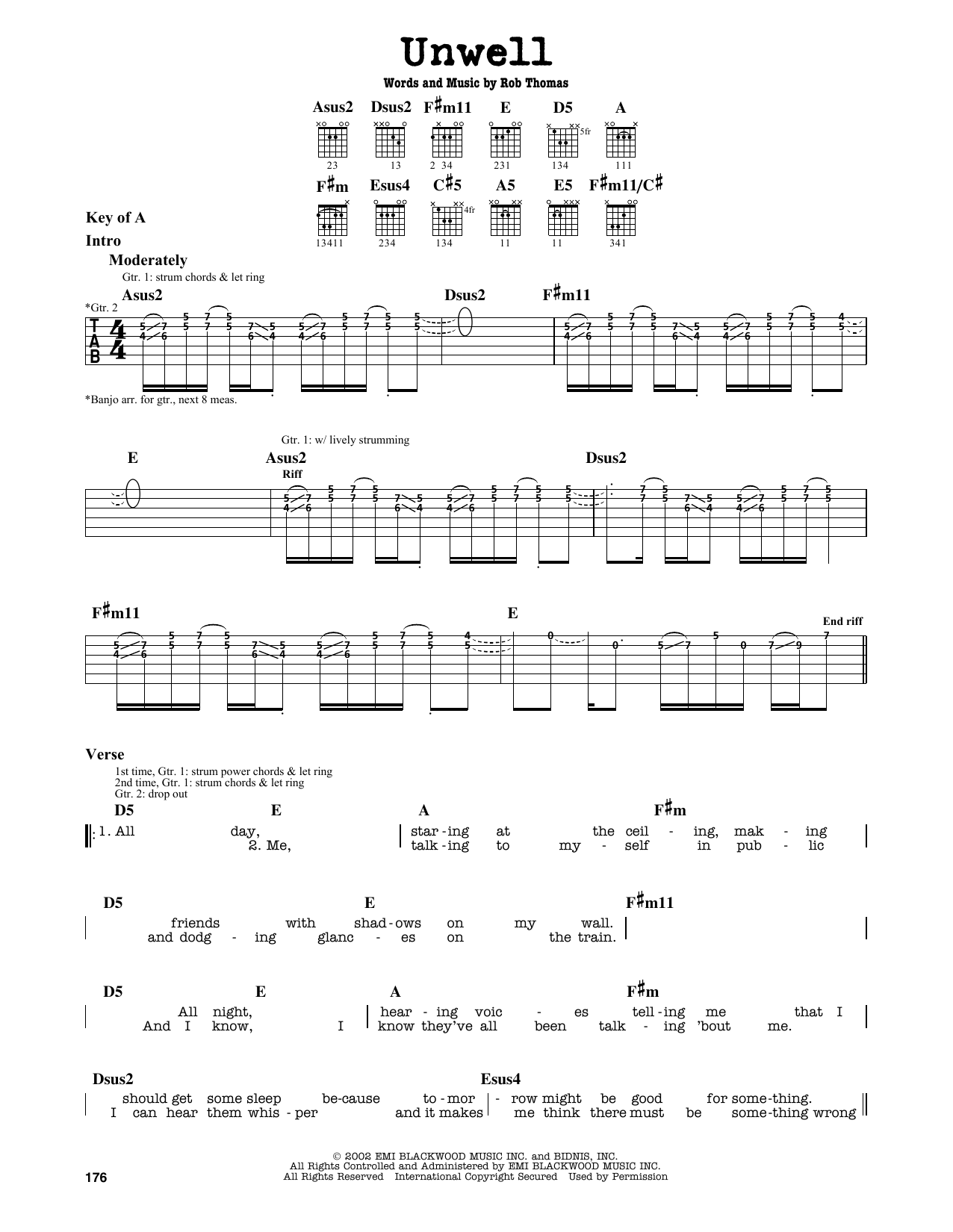 Unwell (Guitar Lead Sheet)