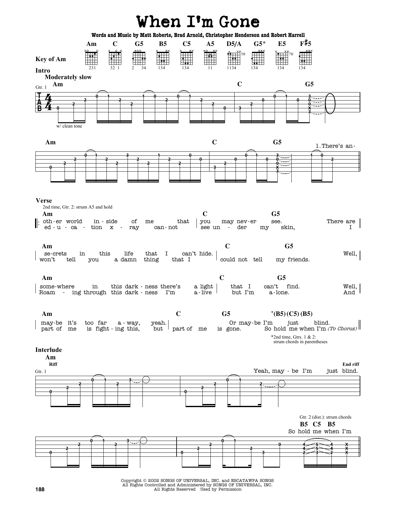 Partition autre When I'm Gone de 3 Doors Down - Tablature Guitare Lead