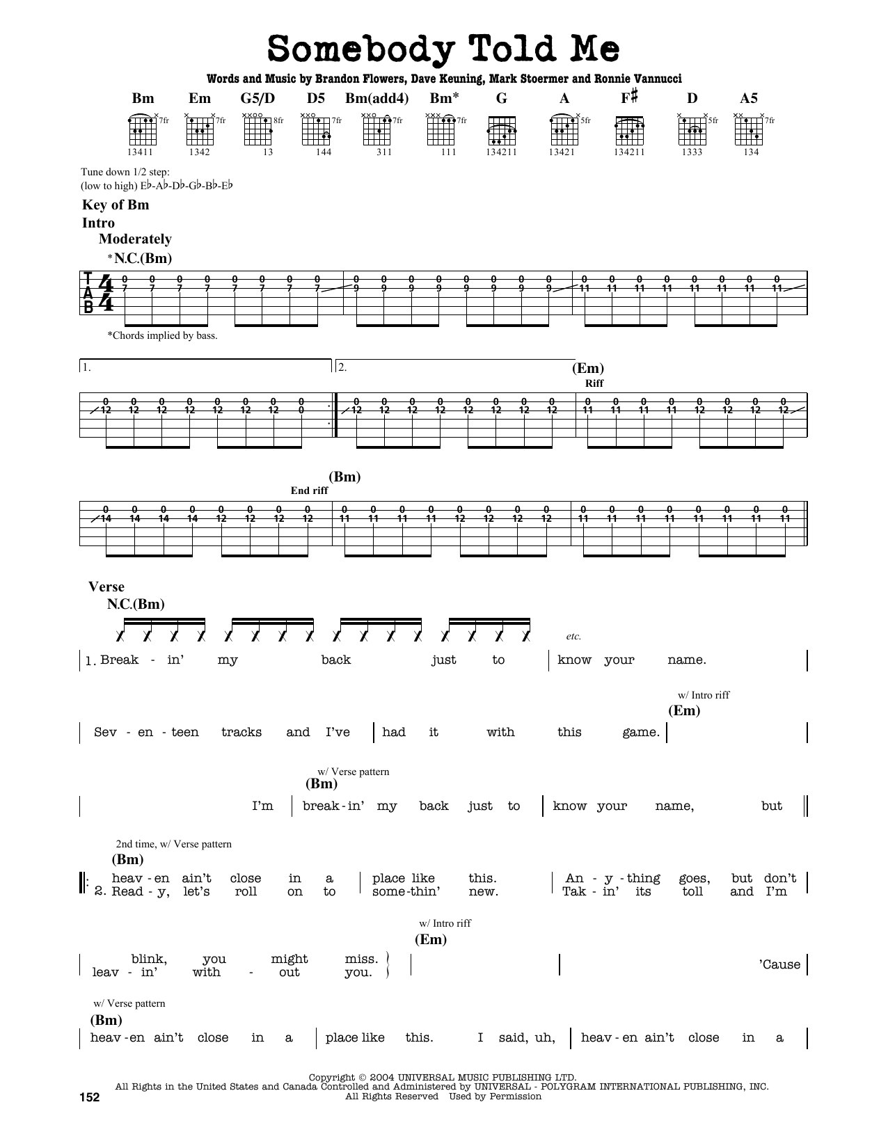 Partition autre Somebody Told Me de The Killers - Tablature Guitare Lead