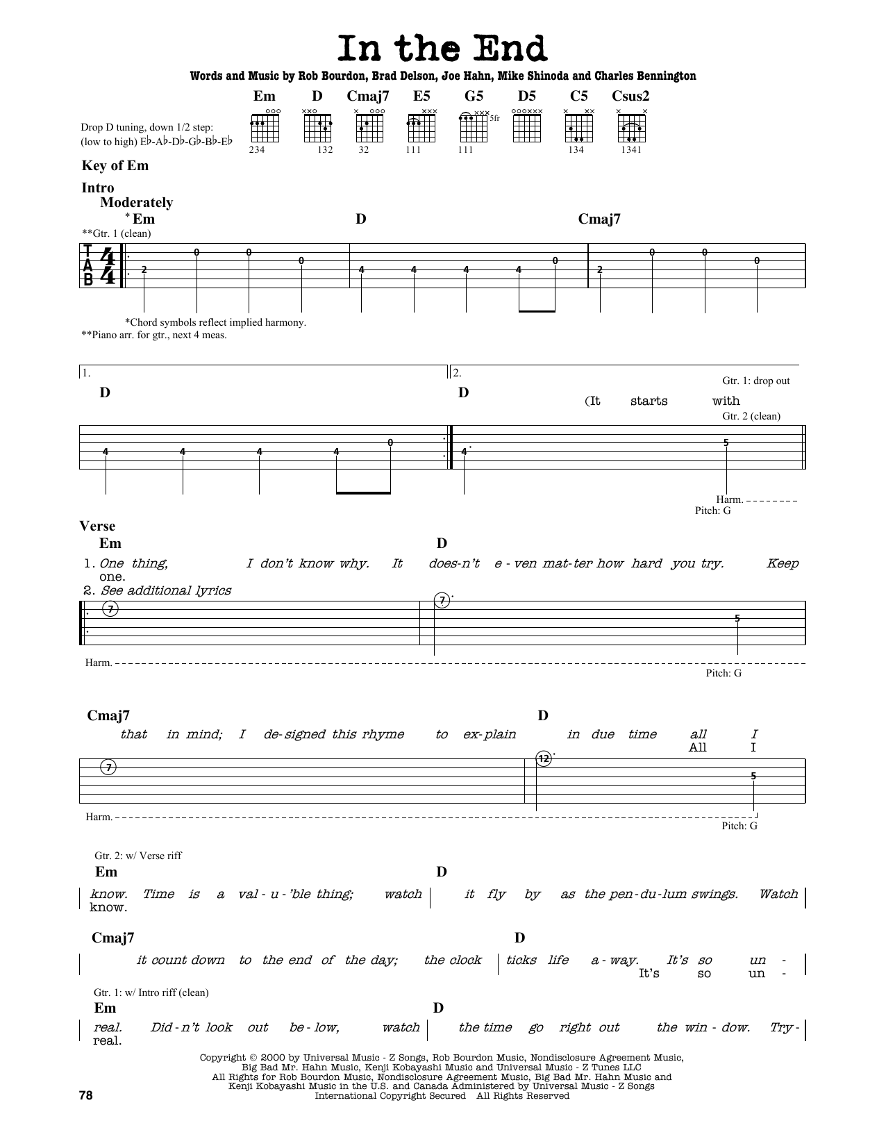 Partition autre In The End de Linkin Park - Tablature Guitare Lead