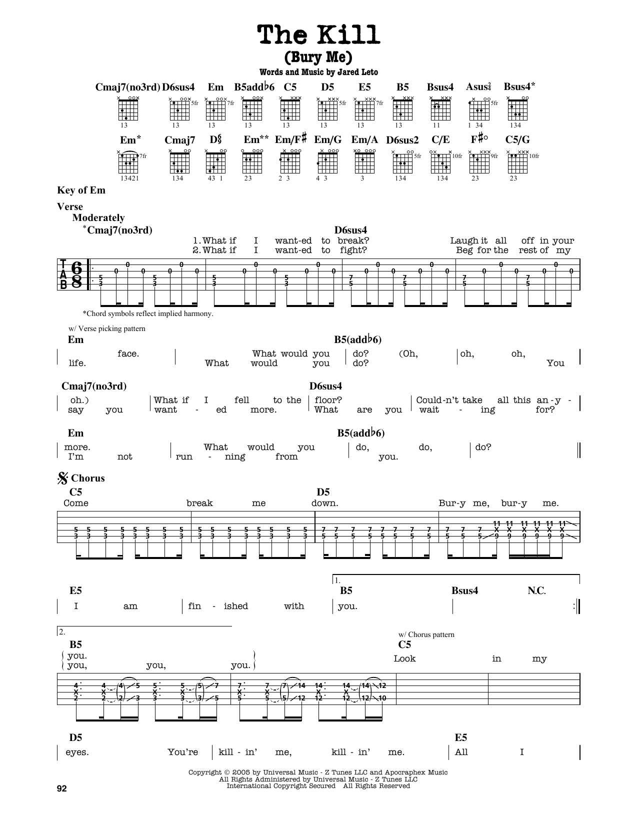The Kill Bury Me Sheet Music 30 Seconds To Mars Guitar Lead Sheet