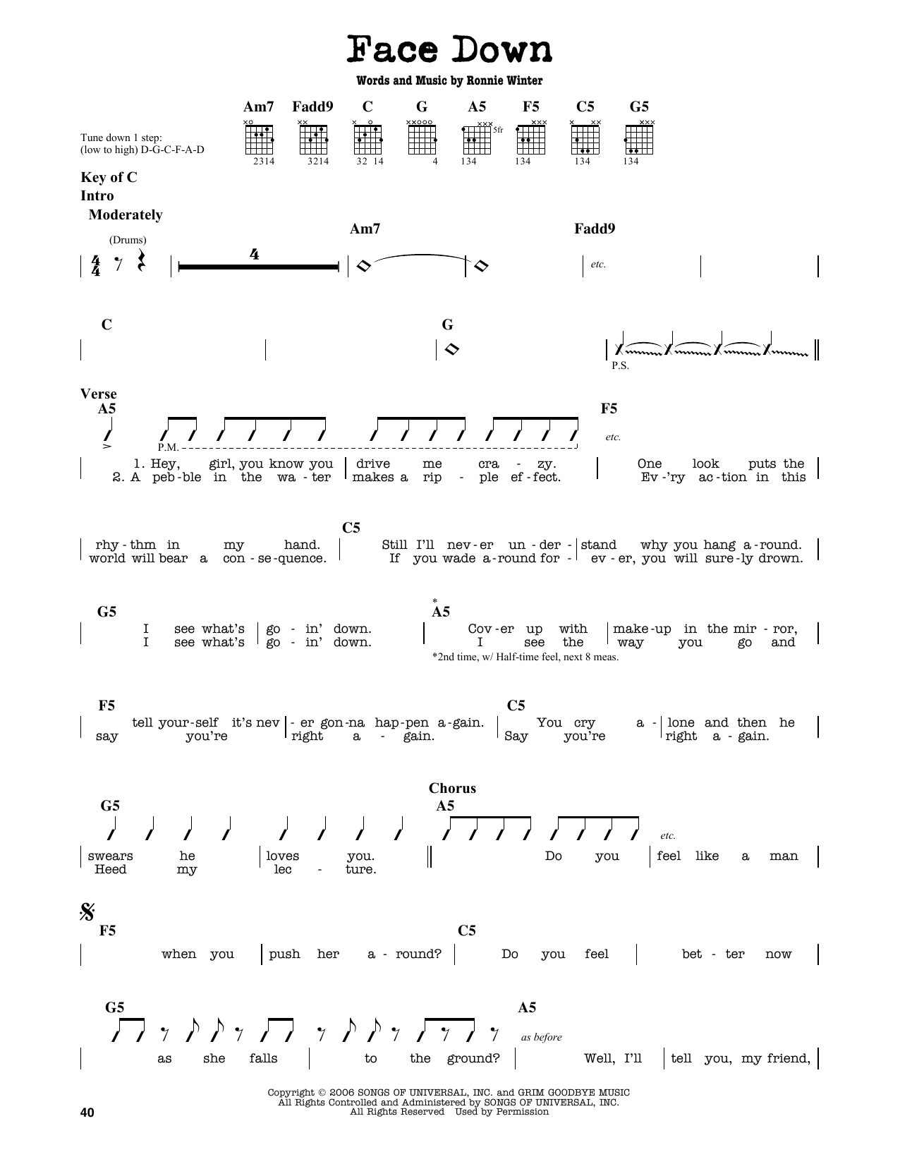 Face Down Sheet Music