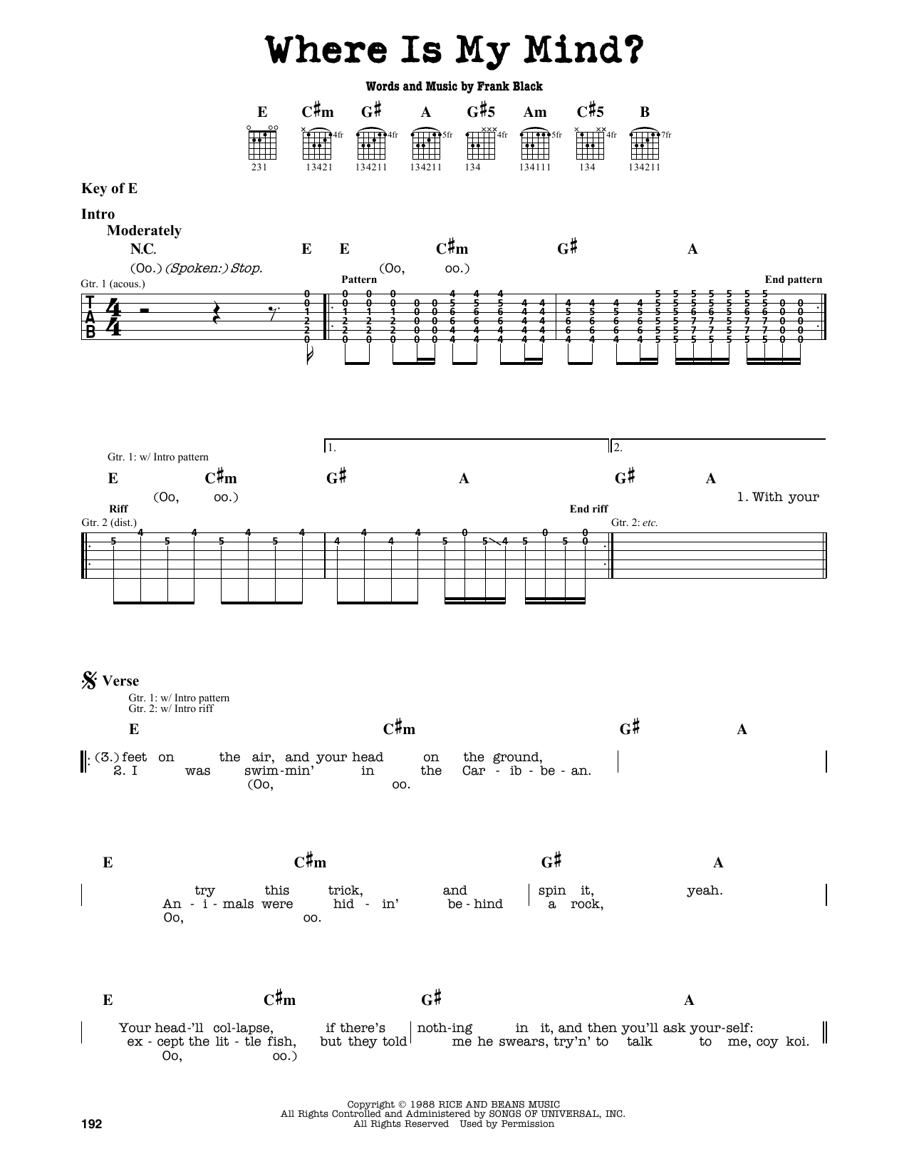 Where Is My Mind Sheet Music The Pixies Guitar Lead Sheet