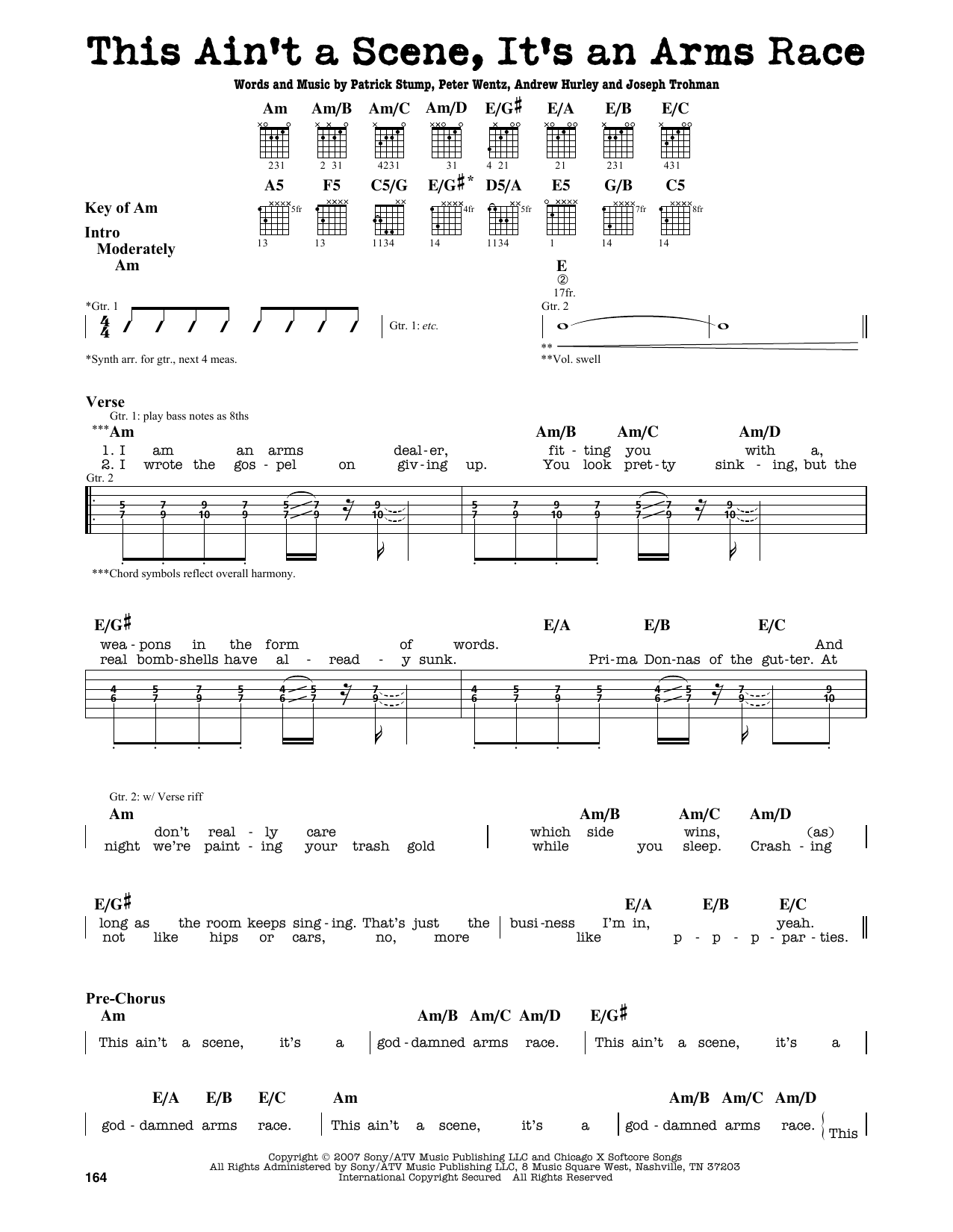 Partition autre This Ain't A Scene, It's An Arms Race de Fall Out Boy - Tablature Guitare Lead