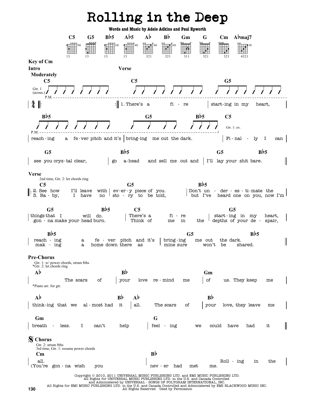 Rolling In The Deep Sheet Music Adele Guitar Lead Sheet