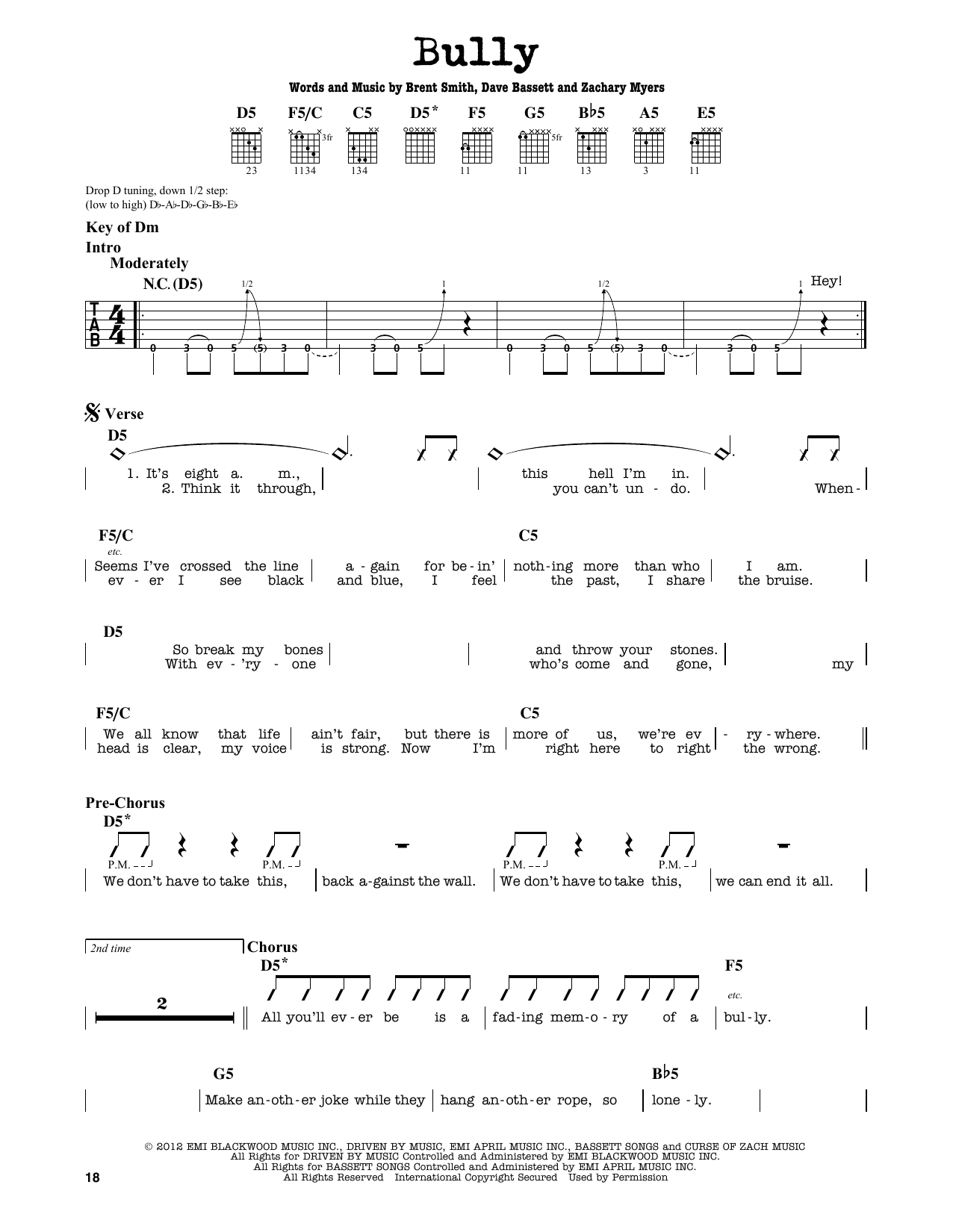 Partition autre Bully de Shinedown - Tablature Guitare Lead