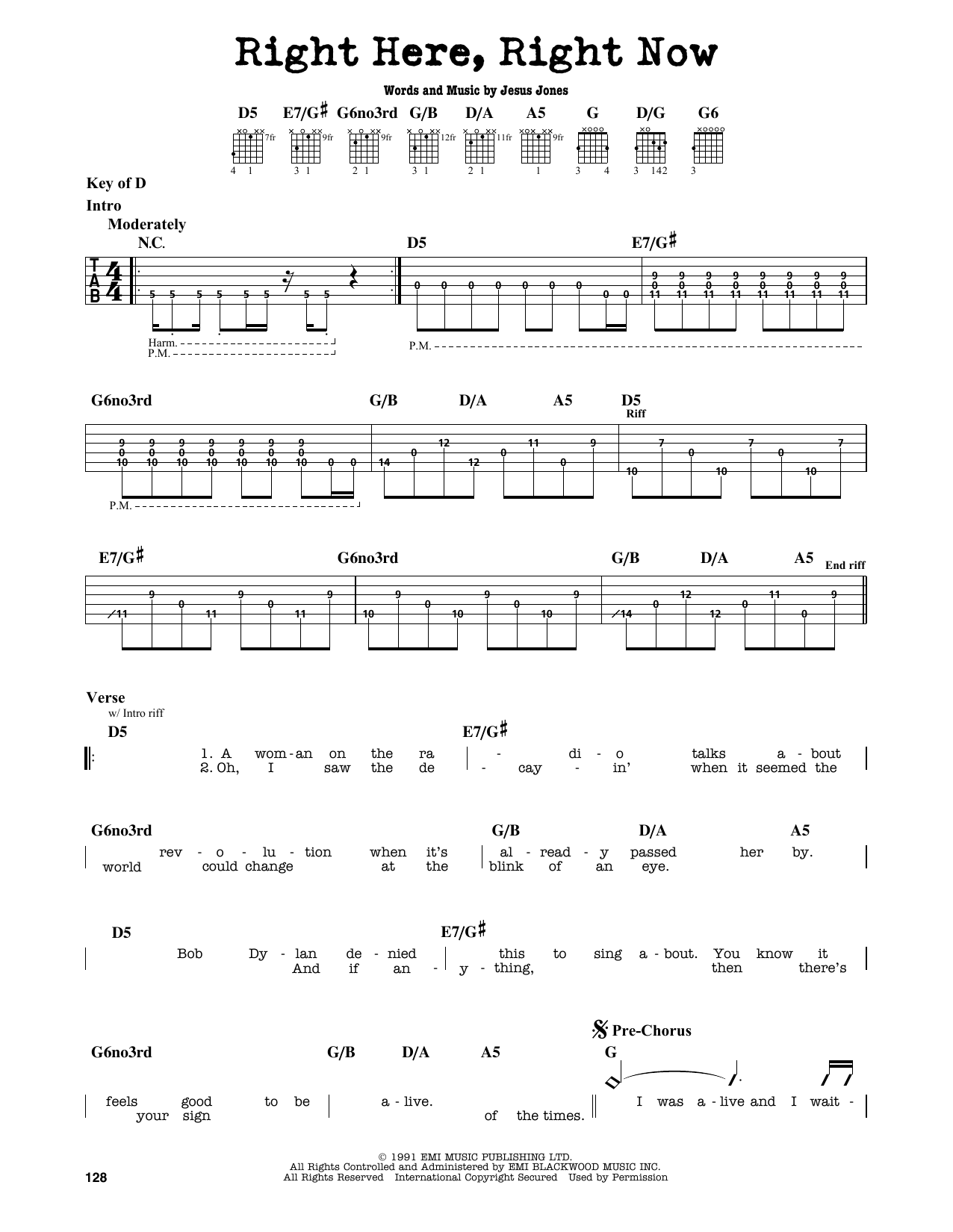 Partition autre Right Here, Right Now de Jesus Jones - Tablature Guitare Lead