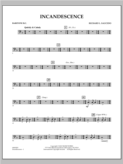 Incandescence - Baritone B.C. Sheet Music
