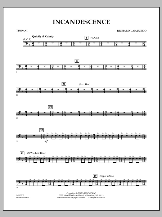 Incandescence - Timpani Sheet Music