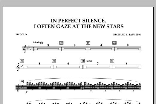 In Perfect Silence, I Often Gaze at the New Stars - Piccolo Sheet Music