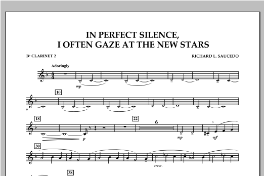 In Perfect Silence, I Often Gaze at the New Stars - Bb Clarinet 2 Sheet Music