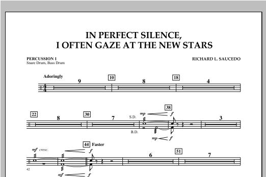 In Perfect Silence, I Often Gaze at the New Stars - Percussion 1 Sheet Music