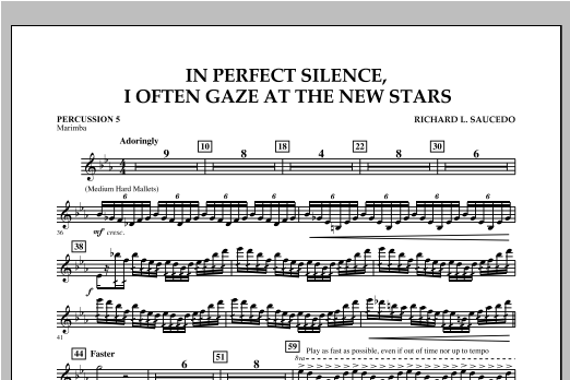 In Perfect Silence, I Often Gaze at the New Stars - Percussion 5 Sheet Music