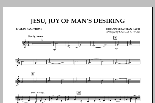 Jesu, Joy Of Man's Desiring - Eb Alto Saxophone Sheet Music