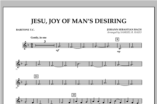 Jesu, Joy Of Man's Desiring - Baritone T.C. Sheet Music