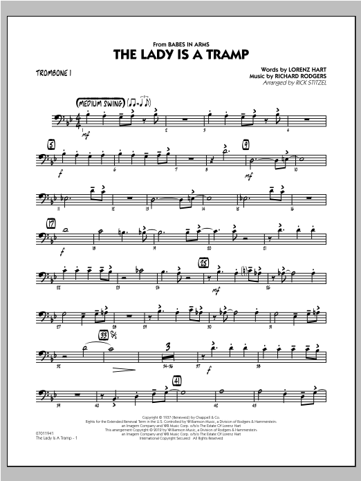 The Lady Is A Tramp - Trombone 1 Sheet Music