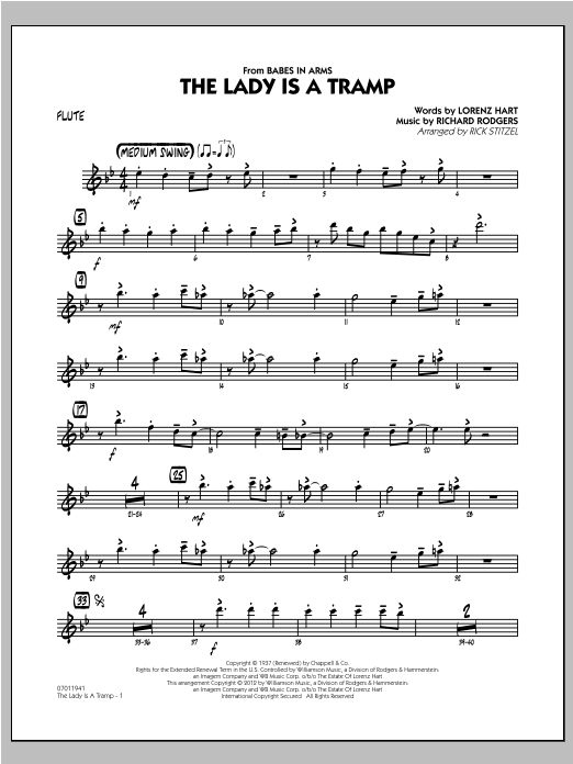 The Lady Is A Tramp - Flute Sheet Music