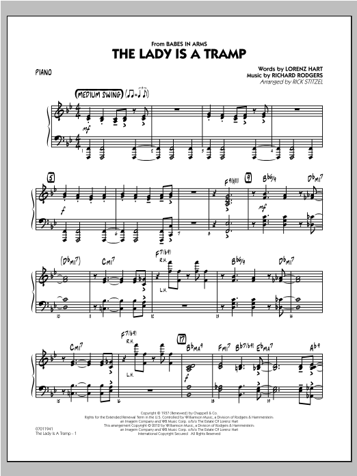 The Lady Is A Tramp - Piano Sheet Music