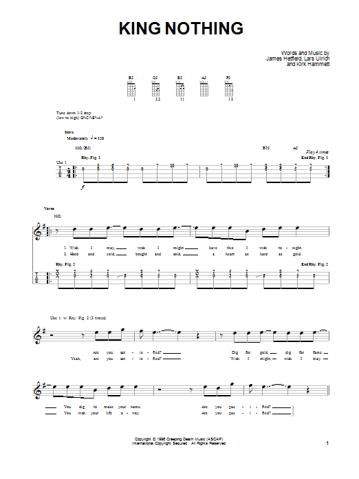 Piano piano tabs nothing else matters : King Nothing | Sheet Music Direct