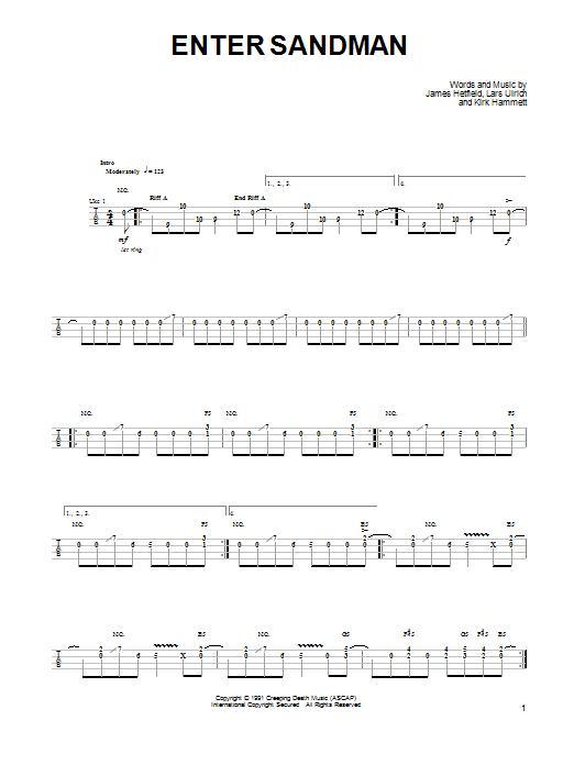 Enter Sandman sheet music by Metallica (Ukulele – 91848)