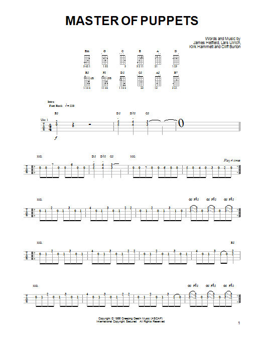 Master Of Puppets | Sheet Music Direct