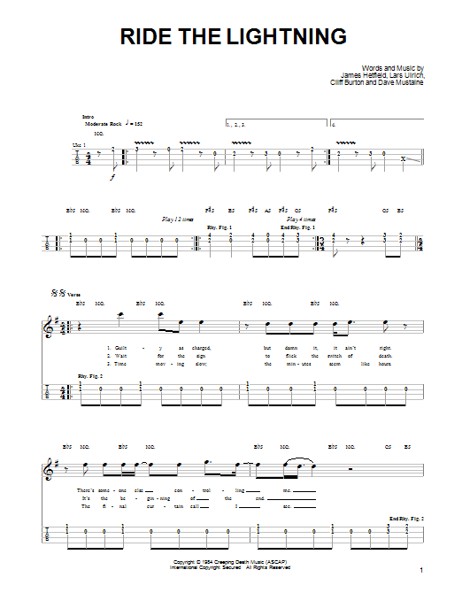 Tablature guitare Ride The Lightning de Metallica - Ukulele