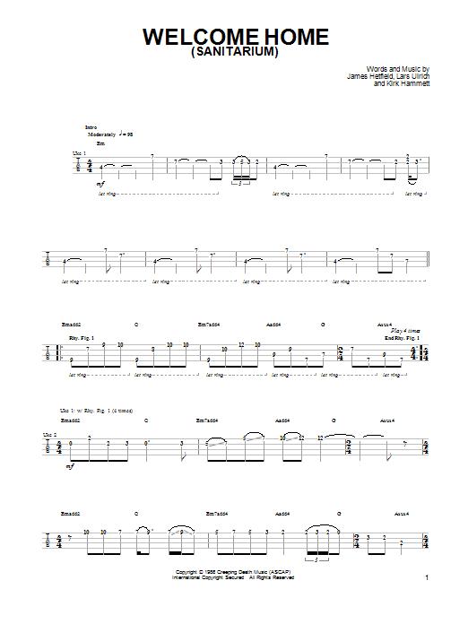 Welcome Home (Sanitarium) Sheet Music