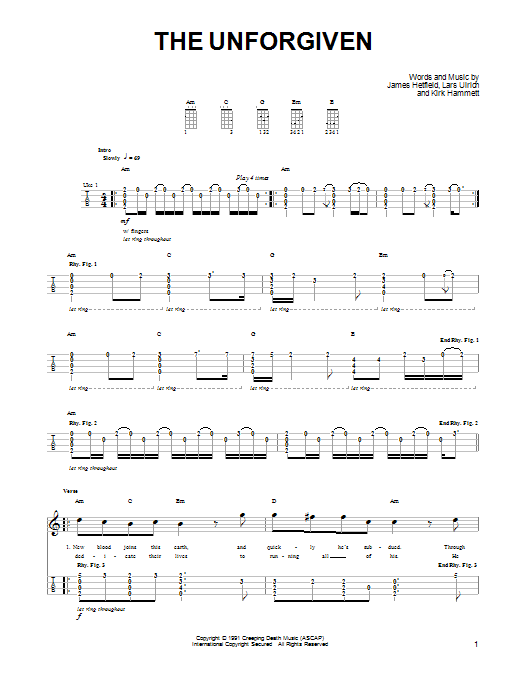 Tablature guitare The Unforgiven de Metallica - Ukulele