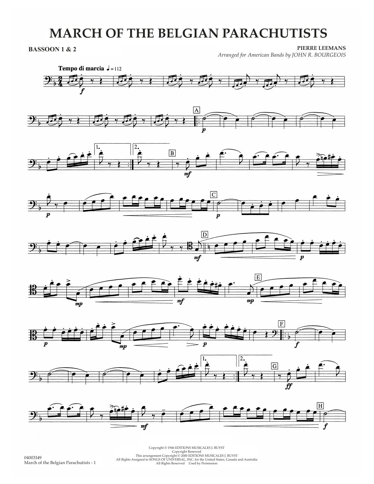 March Of The Belgian Parachutists - Bassoon 1 & 2 Sheet Music