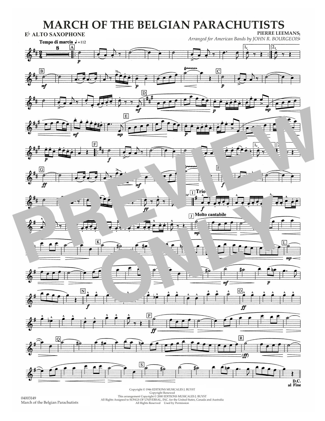 March Of The Belgian Parachutists - Eb Alto Saxophone Sheet Music