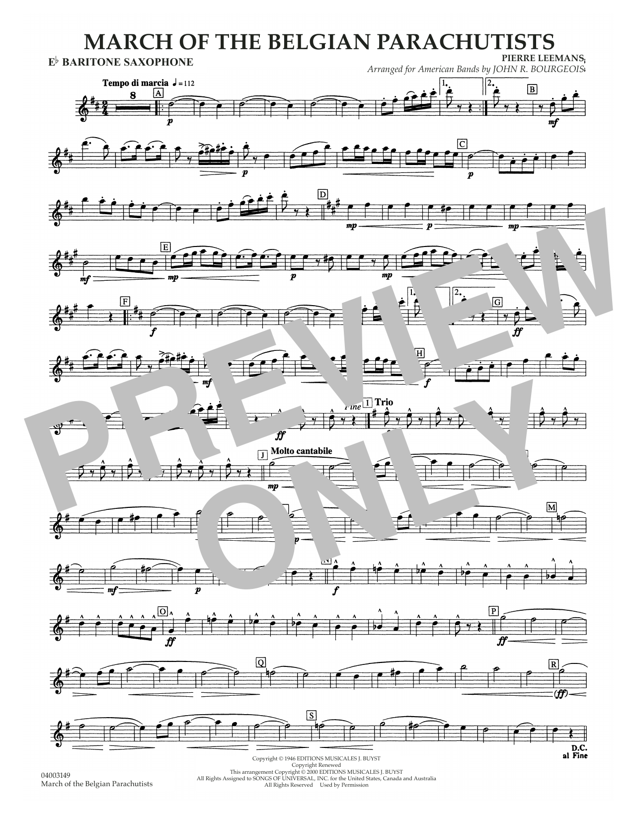 March Of The Belgian Parachutists - Eb Baritone Sax Sheet Music
