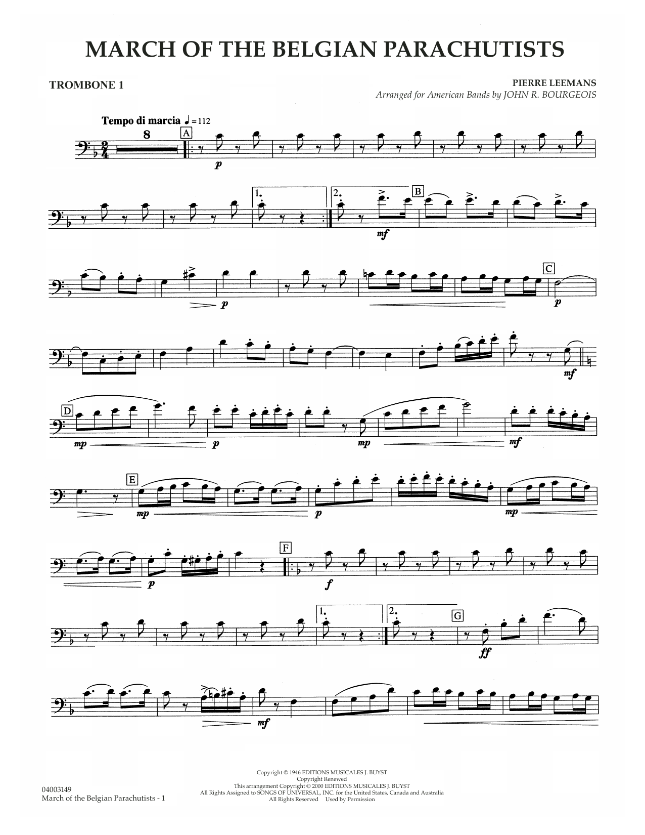 March Of The Belgian Parachutists - Trombone 1 Sheet Music
