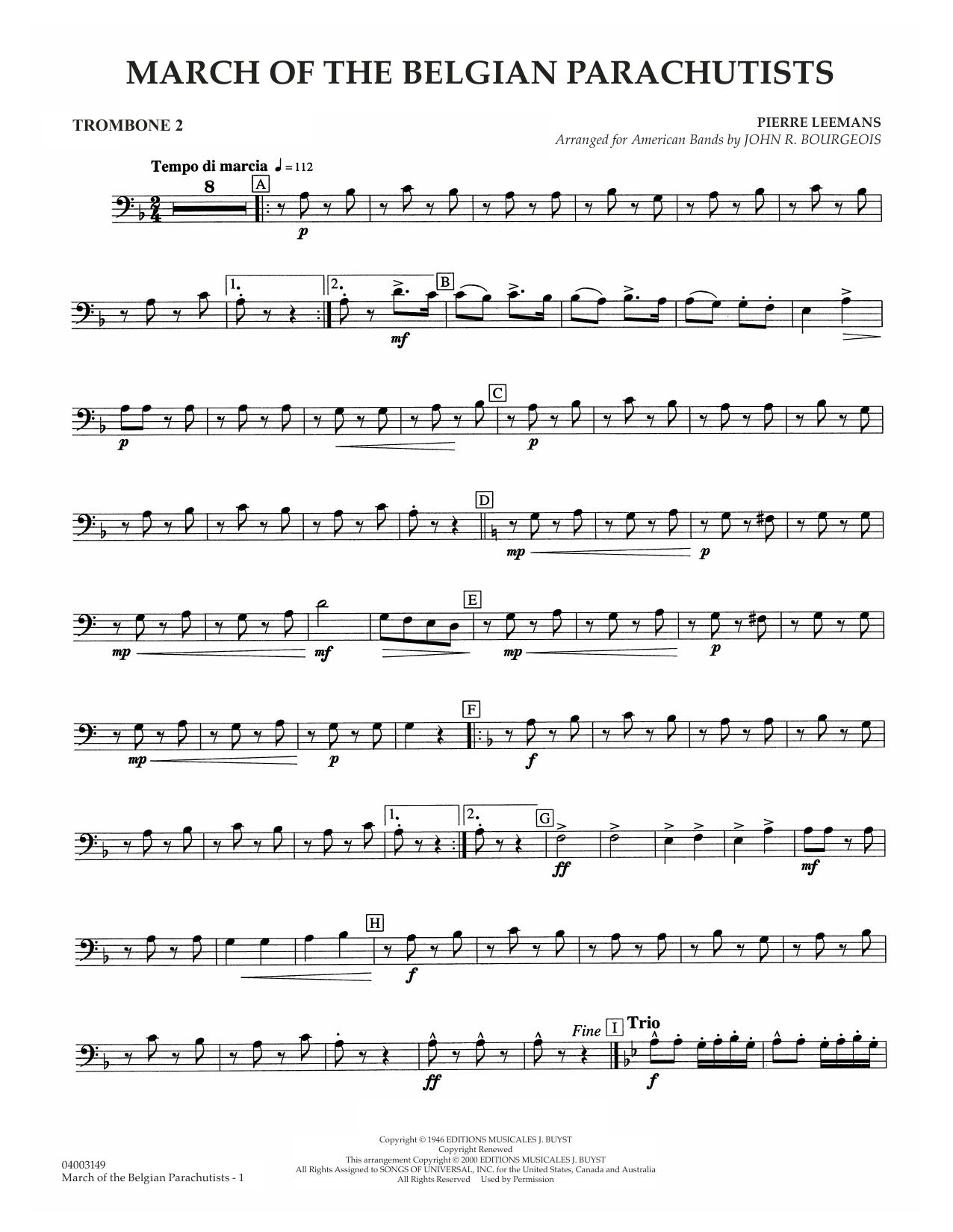 March Of The Belgian Parachutists - Trombone 2 Sheet Music