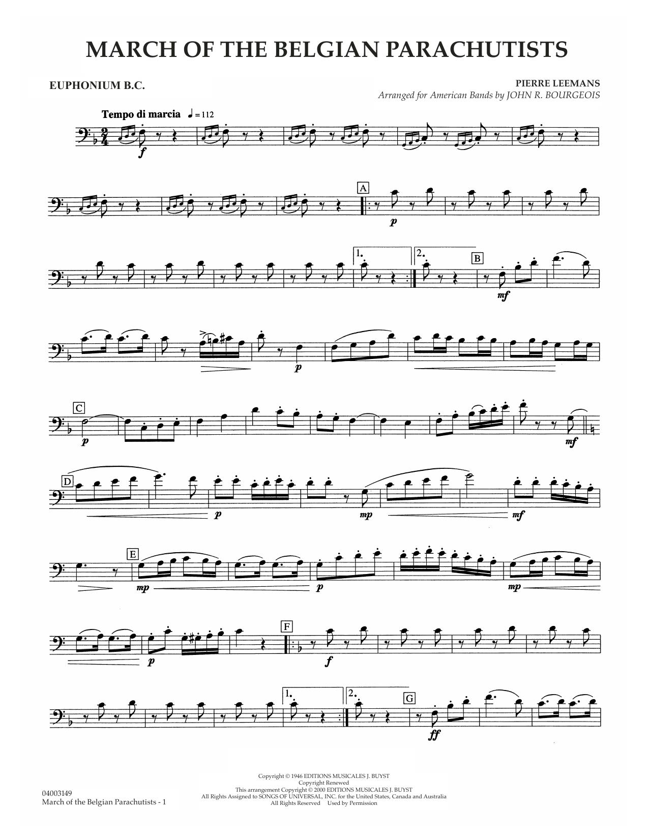 March Of The Belgian Parachutists - Euphonium BC Sheet Music