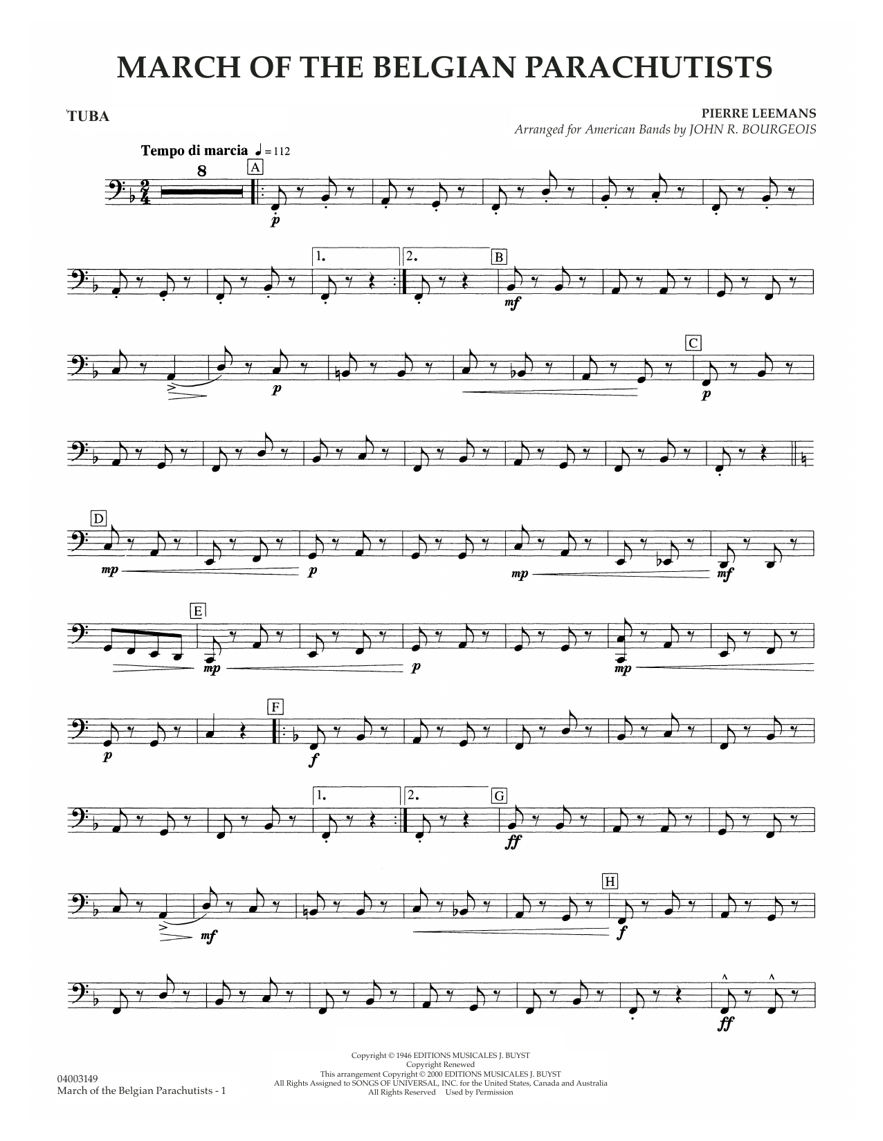 March Of The Belgian Parachutists - Tuba Sheet Music
