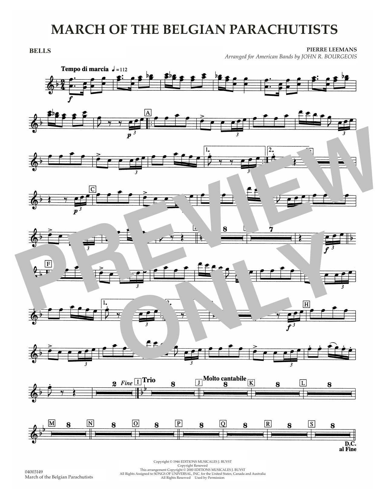 March Of The Belgian Parachutists - Bells Sheet Music