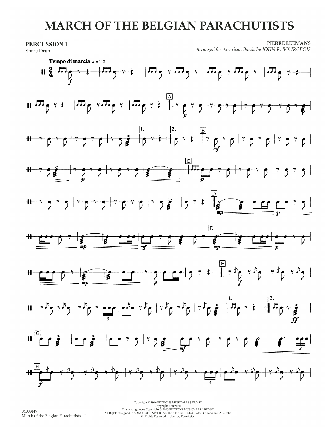 March Of The Belgian Parachutists - Percussion 1 Sheet Music