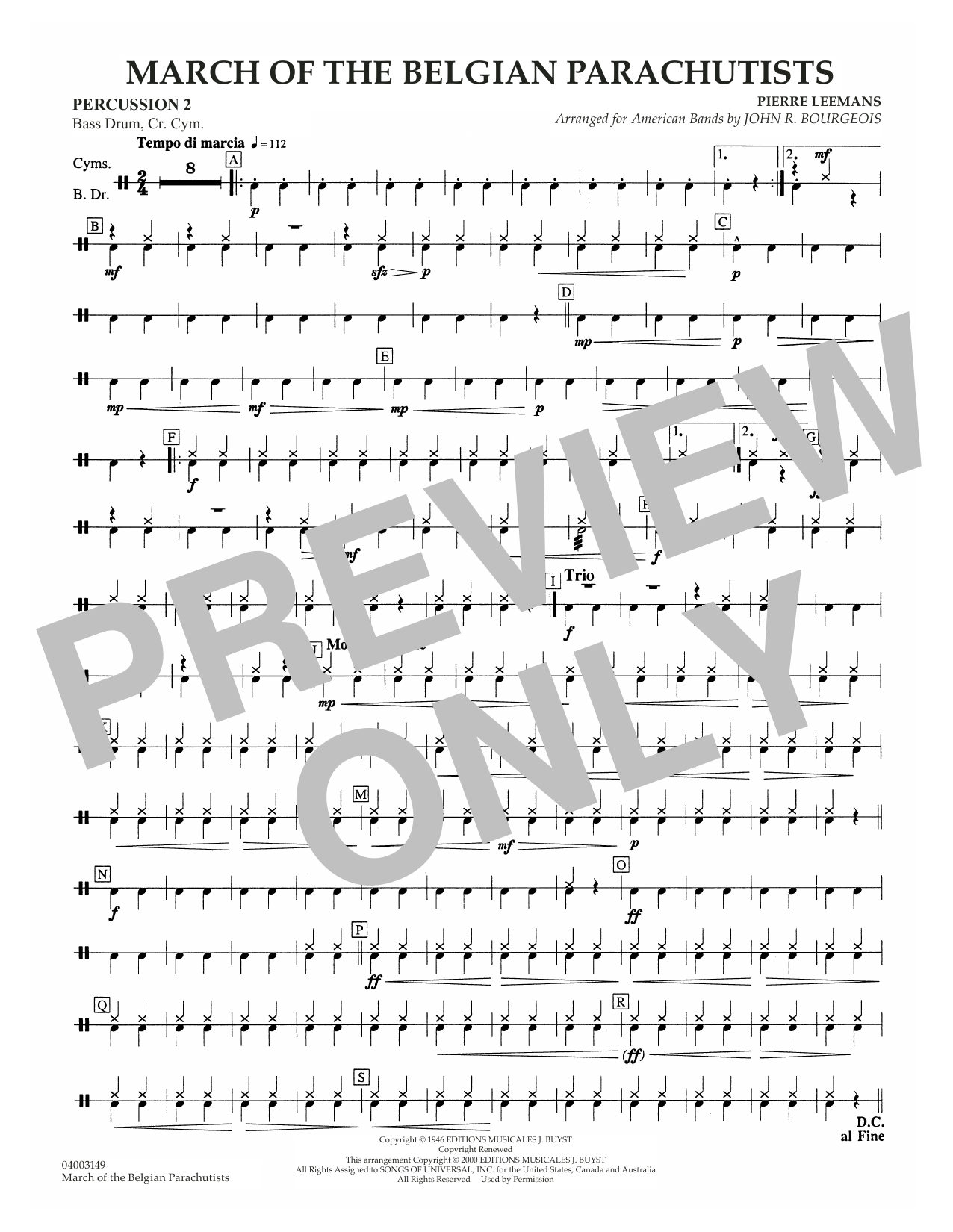 March Of The Belgian Parachutists - Percussion 2 Sheet Music